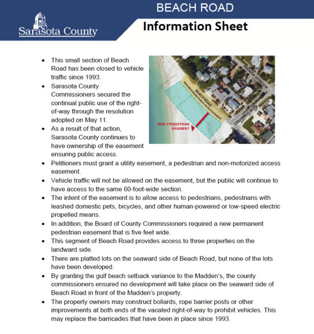 Sarasota County has issued this fact sheet about the North Beach Road vacation. Image courtesy Sarasota County