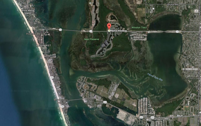 An aerial view shows Perico Preserve in Manatee County. Image from Google Maps