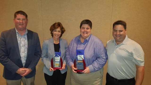 (From left) Rob Wells of the Sarasota Sports Commission; Carolyn Brown, Sarasota County Parks, Recreation and Natural Resources Department director; Ashley Edwards of the City of Tallahassee Parks and Recreation Department; and Stephen Rodriguez of the Florida Sports Foundation celebrate Sarasota County's recognition. Contributed photo