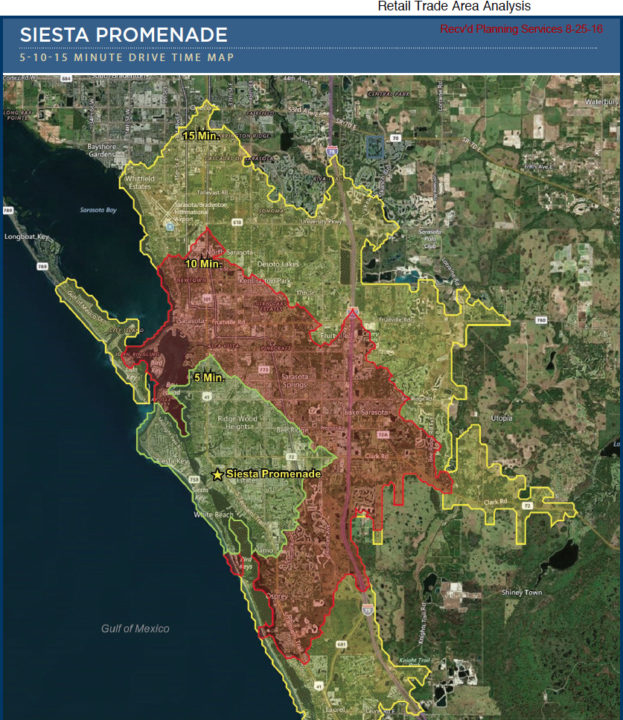 A graphic shows areas within 5, 10 and 15 minutes of drive time from the Siesta Promenade site. Image courtesy Sarasota County