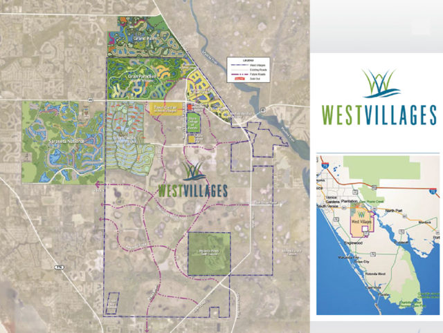 Maps show the location of the West Villages development. Image courtesy Sarasota County