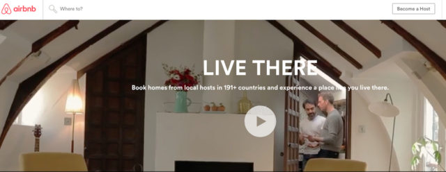 Airbnb featured this scene in its website banner in late September. Image from the website