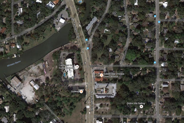 An aerial view shows the proximity of the intersection of 18th Street and U.S. 41 to Whitaker Bayou. Image from Google Maps