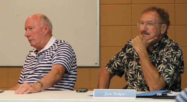 SKA board members Bob Miller (left) and Joe Volpe listen to members in October. Rachel Hackney photo
