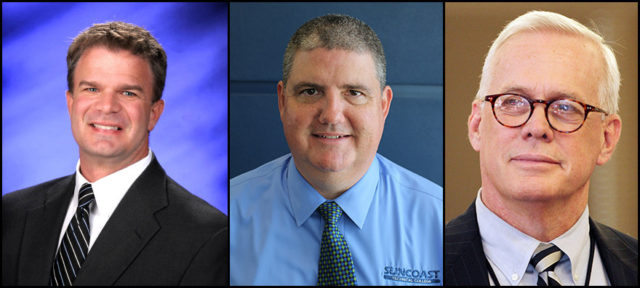 (From left) The three finalists for the next superintendent of the Sarasota County Schools are Brennan Asplen III, Todd Bowden and Mark Porter. Contributed photos