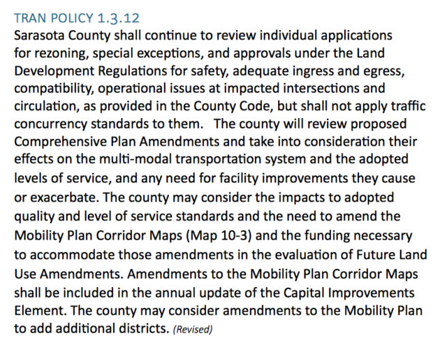 The new Transportation Policy 1.3.12. Image courtesy Sarasota County