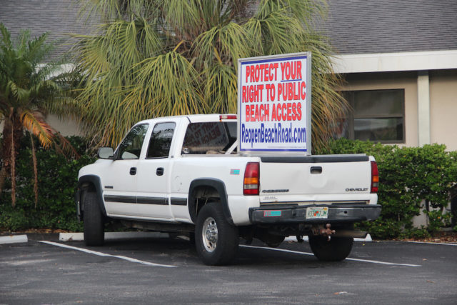 Mike Cosentino's truck publicizing his Reopen Beach Road initiative has become a common sight on Siesta Key. Rachel Hackney photo