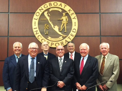 (From left) Members of the Longboat Town Commission are Irwin Pastor, Vice Mayor Terry Gans, Phil Younger, Mayor Jack Duncan, Armando Linde, Jack Daly and Ed Zunz. Image courtesy Town of Longboat Key