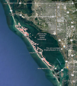 Longboat Key is about 10 miles long. Image from Google Maps