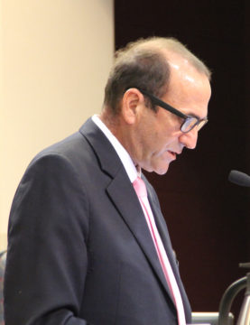 Mike Cosentino addresses the board on Oct. 25. Rachel Hackney photo