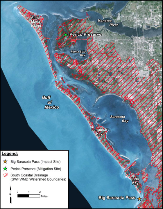 A graphic provided to the Manatee County Commission shows more details about the mitigation area in relation to Big Pass. Image courtesy Manatee County