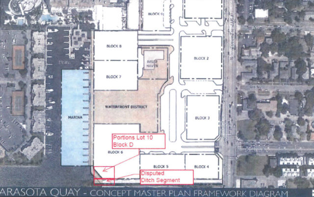 A graphic provided to the City Commission shows the concept of nine blocks for the Quay. Image courtesy City of Sarasota