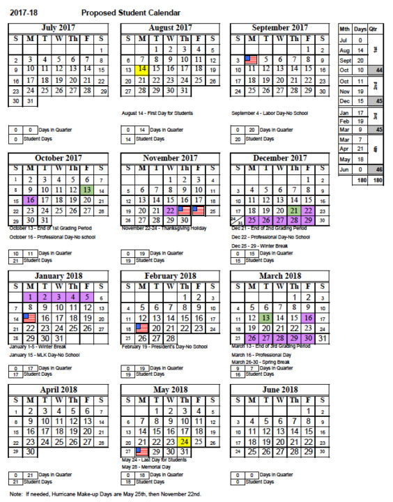 A district committee proposed this calendar for the 2017-18 school year. Image courtesy Sarasota County Schools