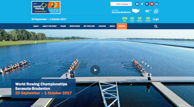 The World Rowing Championships website features this banner. Image from the website