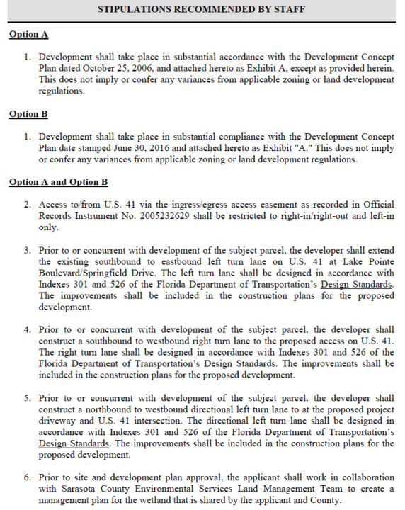 A county document notes six of the stipulations county staff required for the rezone petition to be approved. Image courtesy Sarasota County