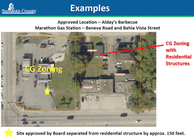 A graphic shows the separation of Alday's BBQ from residences in Pinecraft. Image courtesy Sarasota County