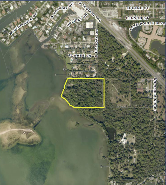 A map shows the site of the proposed project, outlined in yellow. Image courtesy Sarasota County