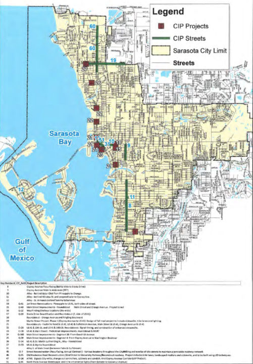 A map shows the locations of transportation projects on the city's Capital Improvement Program list. Image courtesy City of Sarasota