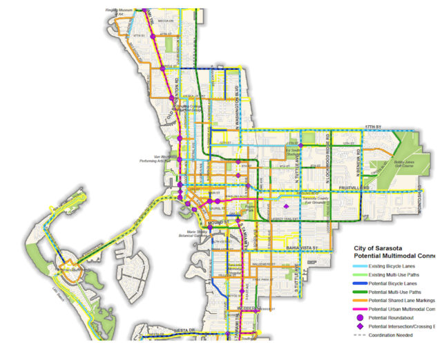 A map shows existing and potential multimodal projects. Image courtesy City of Sarasota