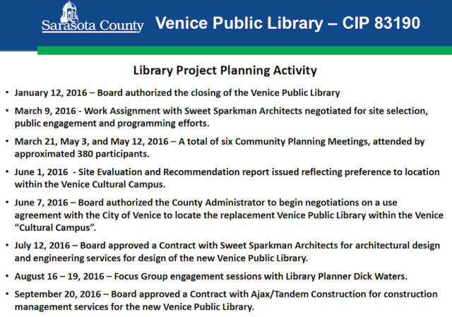 A chart traces the course of events for Venice Public Library over the year thus far. Image courtesy Sarasota County