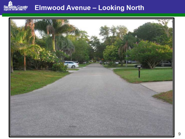 Elmwood Avenue is one of the local roads in Pine Shores Estates. Image courtesy Sarasota County