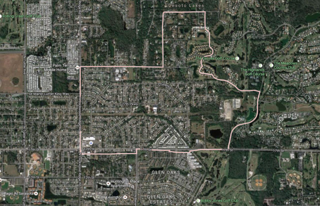 A map shows the location of the Kensington Park community in Sarasota. Image from Google Maps