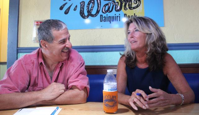 Michael Shay talks with Ann Frescura during the Nov. 1 SKVA meeting. Rachel Hackney photo