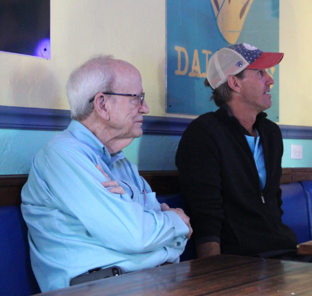 Peter van Roekens (left) and Russell Matthes listen to discussion during the Nov. 1 SKVA meeting. Rachel Hackney photo