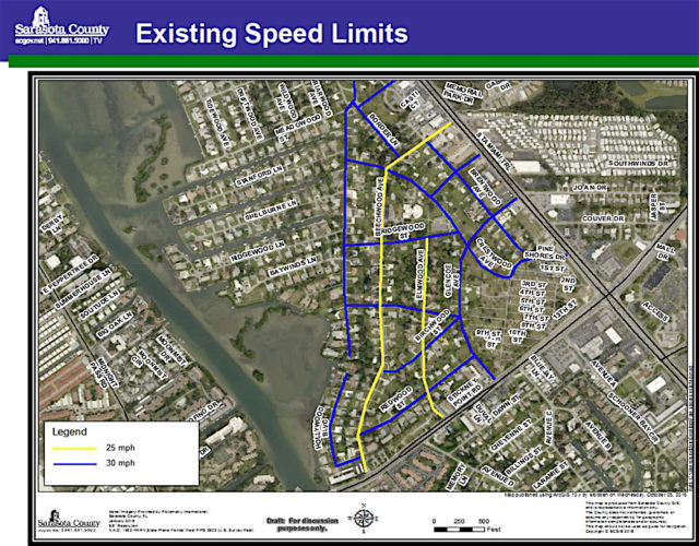 A graphic shows the existing speed limits in Pine Shores Estates. Image courtesy Sarasota County