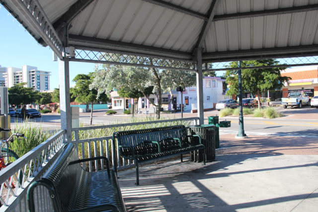 Armrests have been added to some of the benches in the Village gazebo. Rachel Hackney photo