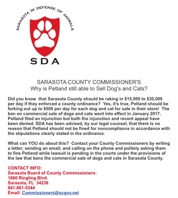 Circuit Court's refusal to stop Sarasota County's retail pet